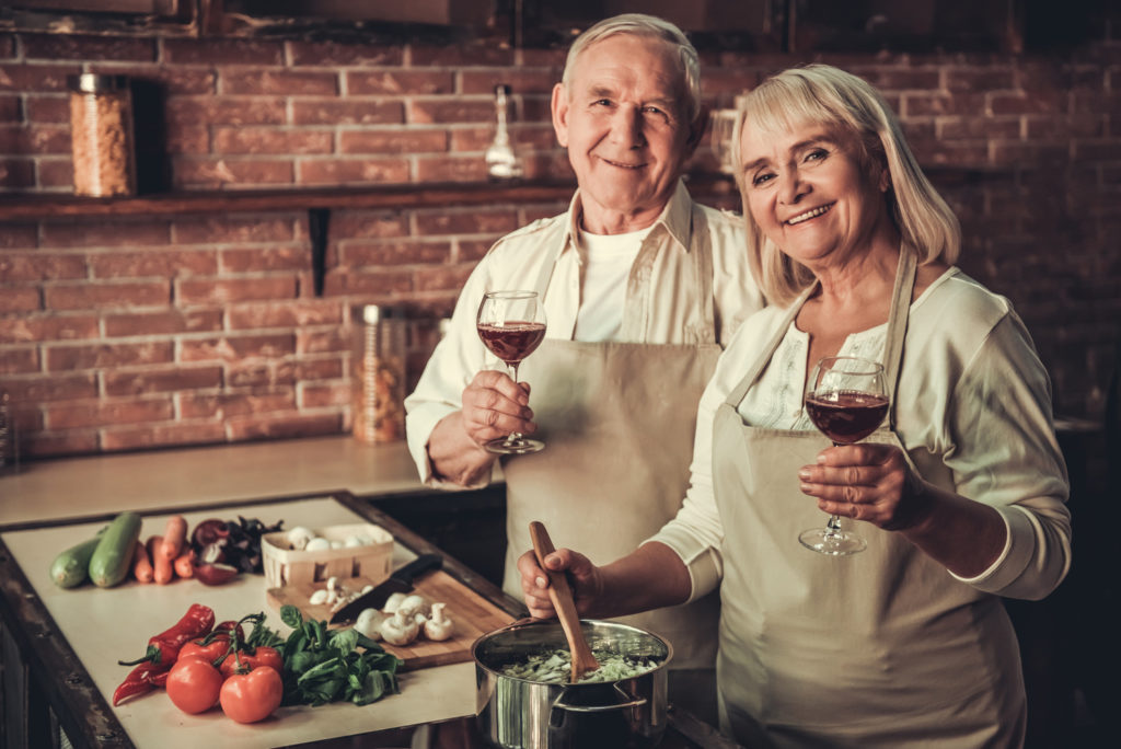 Old couple in kitchen